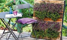 pallet idea, die palletenwand, balconi, planter, garden idea