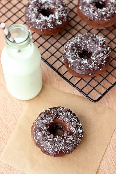 Double Chocolate Donuts with Coconut - Gluten-free, Dairy-free, Refined Sugar-free, Grain-free