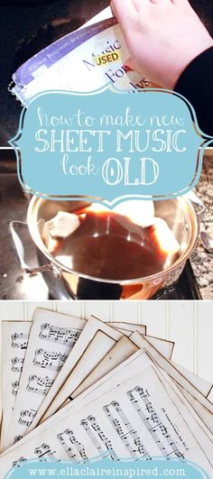 How to Make New Sheet Music Look Old! Can use this tutorial for book pages, sheet music, old maps, etc. Perfect for Fall and Christmas #Crafts!