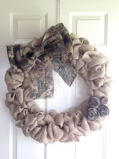 Burlap Wreath, Camo Wreath