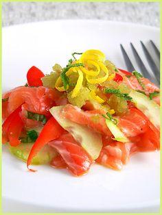 raw salmon with cucumbers and green tea granita more raw salmon hot ...