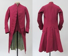 Suit (frock coat, sleeveless waistcoat, and breeches [not shown]), 1770–80, probably British, wool, silk, cotton. The Met
