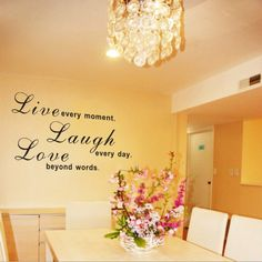 Black live laugh love wall decal -Wall Quote / Wall Words removable for bedroom or living room decor