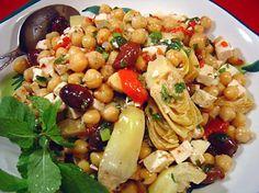 Marinated Chickpea and Artichoke Salad with Feta Recipe Pic