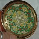 COTY BRASS Enamel Powder COMPACT EMERAUDE Natural / with tapestry design