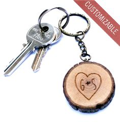 branch, initi keychain, anniversary gifts, wood keychain, wooden keychain