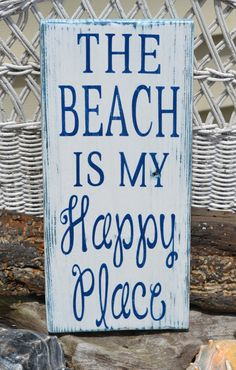 Beach Decor, The Beach Is My Happy Place - Beach Sign - Beach Theme - Home Wall Hanging -  Coastal Decor - Nautical - Wood - Painted beaches, happi place, beach signs, wood signs, beach theme, navy, the beach is my happy place, places, quot