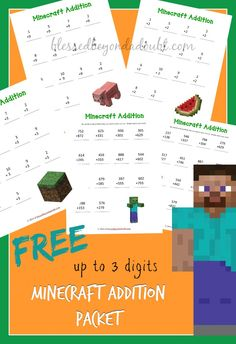 FREE Minecraft Addition Worksheets Packet!    pinned by www.SlenderSuzie.com