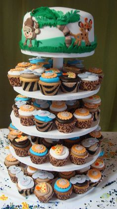 cupcake liners, baby shower cakes, baby shower cupcakes, jungle theme, jungle safari, safari baby shower cake, cupcake towers, jungle cake, baby showers