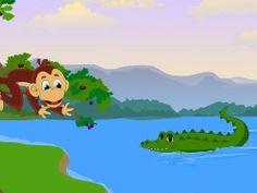 The monkey berates the crocodile - the story of the monkey and the crocodile monkey berat, pictur, monkeys, crocodiles, monkey throw, foolish crocodil, short stori, blackberries, kid