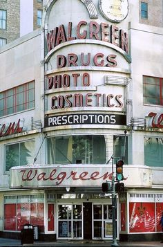 Walgreens on Canal St., art deco architecture and signage