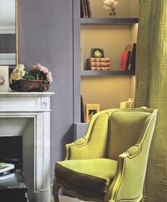 wall colors, chartreuse, color combos, chair fabric, grey decor, chairs, interior idea, color combinations, color scheme