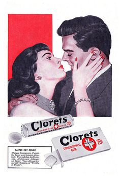 Vintage French ad for Clorets Mints and Gum (1952). #vintage #1950s #food #candy