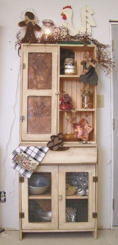 primitive kitchen cupboards | Prim Cabinets - Cabinets - Country Quackers Primitives-Primitive ...