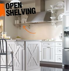 Open shelving is a popular trend in kitchen design in which kitchen items like glassware and dishes are displayed on shelving that is open, rather than behind cabinet doors. Ask about shelving that compliments your cabinet style if you're undergoing a kitchen renovation, or add simple shelves to an empty kitchen wall to create more storage.