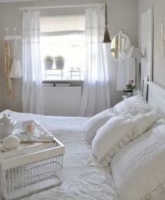 I love the bed tray, pillows and curtains