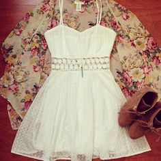 kimono, summer dresses, ankle boots, fashion idea, summer outfits, the dress, little white dresses, spring outfits, lace dresses