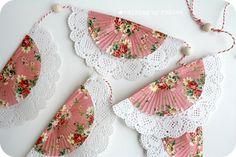 displaying vintage doilies, cupcake liners, cupcake holders, paper doilies, cupcake party, cupcake paper crafts, cupcak liner, garland, banner