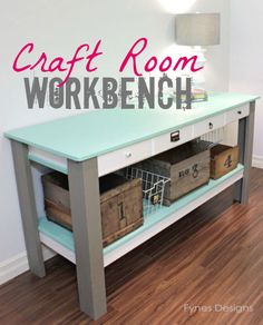 DIY-Craft Room Workbench (I seriously want to use this idea to turn a plain table into a kitchen island.  I have a table and will add a bottom shelf and top with 2 cm. granite.)