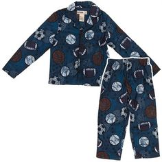 Blue Sports Coat-Style Pajamas for Boys