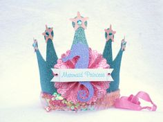 Sparkly Mermaid Princess Crown Party Hat in aqua turquiose, pink and purple glitter on Etsy, $14.50