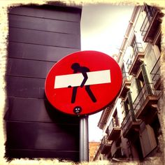 Street sign sticker bombing, #StreetArt #Barcelona