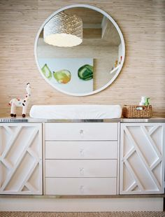 #White resort-style furniture gives the #nursery a fun retro feel.