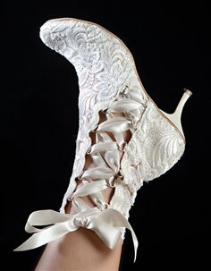 Vintage Style House of Elliot Hand-Made Lace Bridal Boots - Ribbon Lace Up Bridal Boots