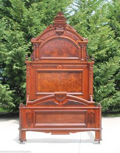 Captivating Early Victorian Walnut & Burl Ornate High Back Bed~9ft 3in.~c1865