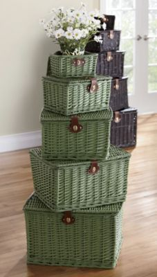 Set of 5 Nesting Willow Baskets   Handwoven, hand-painted willow baskets-Nearly 4' h when stacked. Set of 5. www.countrydoor.com