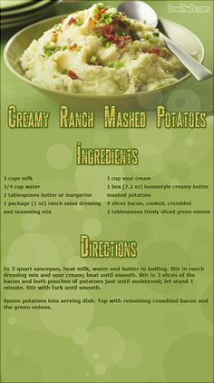 Creamy Ranch Mashed Potatoes thanksgiving recipes thanksgiving recipes recipes easy recipes ingredients instructions baking recipe ideas dinner recipes