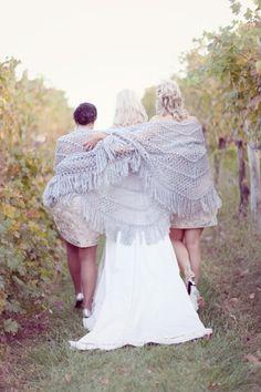 Silver and Pink Bridesmaids