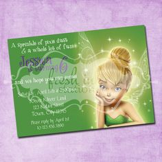 Tinkerbell Birthday Invitation - words