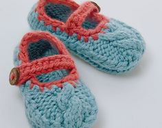 Knitted baby shoe pattern Mary Jane Cable by JuliaAdamsPatterns