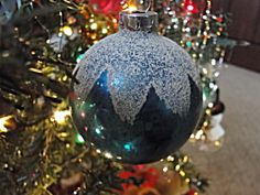 Blue Shiny Brite Mica Snow Cap Glass Ornament