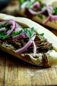Slow-roasted Balsamic beef sandwiches.