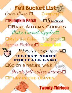 My fall bucket list of 2013!