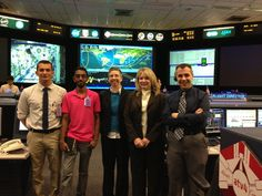 Penn State Lunar Lion Members Ajeeth Ibrahim and Michael Policelli(left) stand with three Penn State Alums, all of whom work as Flight Directors in NASA Mission Control! Go PSU!