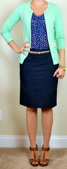 Cute idea for a work outfit teaching clothes, outfit post, color combos, capsule wardrobe, jean skirts, pencil skirts, work outfits, shoe, denim skirts