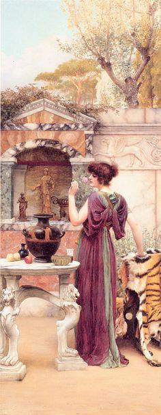 John William Godward (1861-1922)  At the Garden Shrine, Pompeii  Oil on canvas