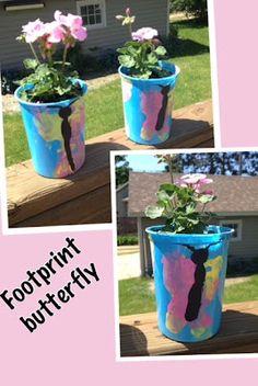 Foot print butterfly flower pots