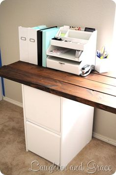 DIY desk. You could make the top from old pallet wood. Look at ikea for white drawers