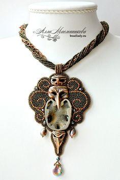 Artist beads Alla Maslennikov - Jewelry embroideri inspir, bead piec, bead artist, bead embroideri, bead face, bead tutori, bead jewelri, bead jewelry, beadboard4