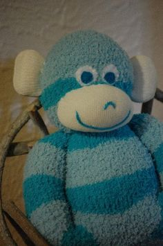 Soft Chenille Solid Teal Baby Sock Monkey. $15.00, via Etsy.