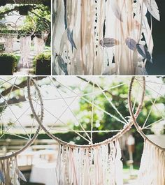 bohemian wedding - dreamcatchers :) now if I could make them with leaves (spray them with a fixative or something to preserve) that would be amazing!!!