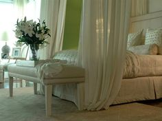 I want a romantic bedroom like this + chandelier