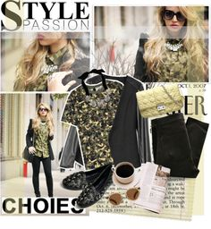 """Camouflage chic"" by pribortolon ❤ liked on Polyvore"
