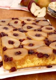 Pear Upside-Down Cake -- Move over, pineapple--pears are having a moment. This pound cake-like dessert recipe featuring pumpkin spice and cranberries is poised to steal the spotlight.