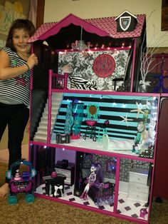 Maya's custom monster high doll house.  Lagoona blue and Spectra have bedrooms.  A new extended deck off the top floor living room.  Totally fun project.