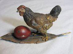 Antique Chicken w/Egg Thimble Holder